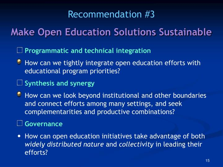 Make Open Education Solutions Sustainable