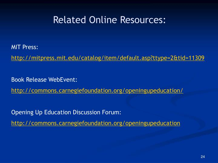 Related Online Resources: