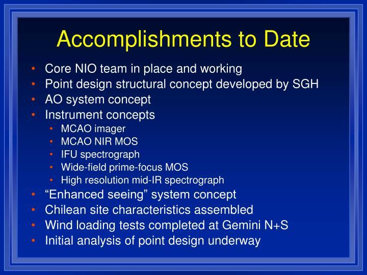 Accomplishments to Date