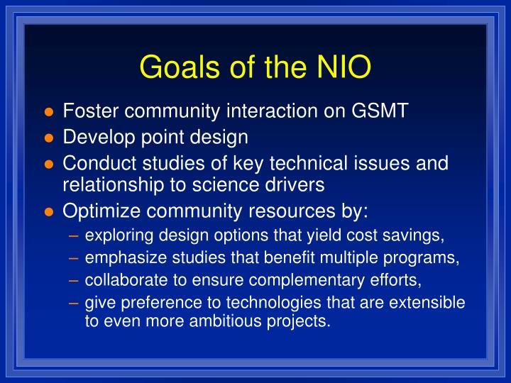 Goals of the NIO