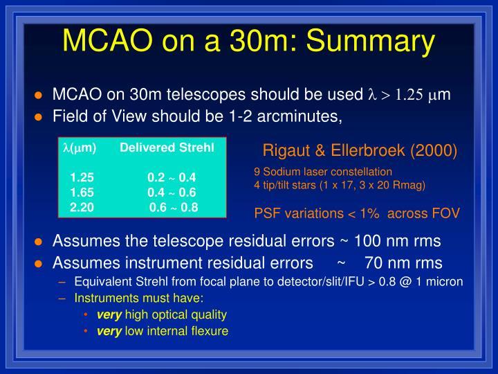 MCAO on a 30m: Summary