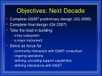 objectives next decade