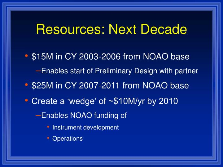Resources: Next Decade