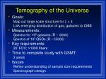 tomography of the universe