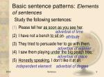 basic sentence patterns elements of sentences