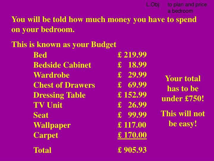 You will be told how much money you have to spend on your bedroom.