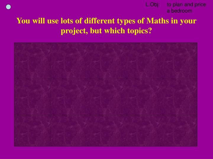 You will use lots of different types of Maths in your project, but which topics?