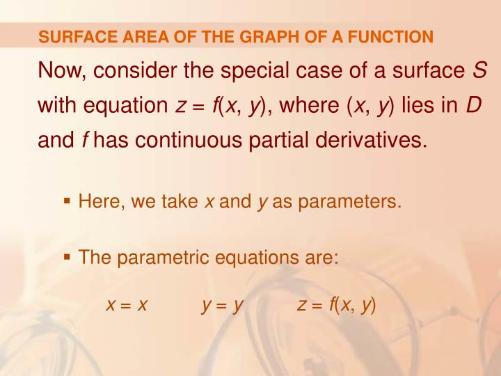 SURFACE AREA OF THE GRAPH OF A FUNCTION