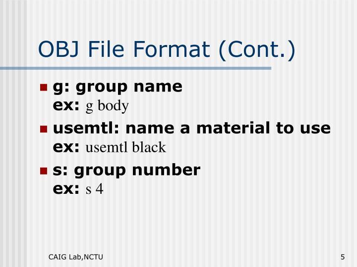 OBJ File Format (Cont.)