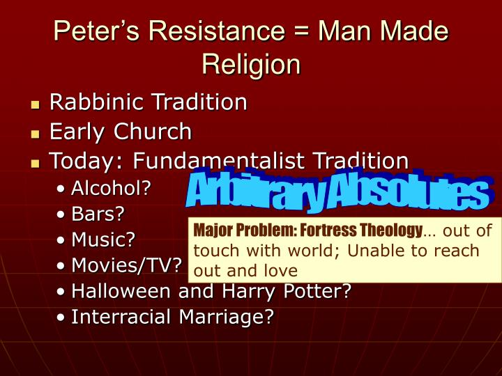 Peter's Resistance = Man Made Religion