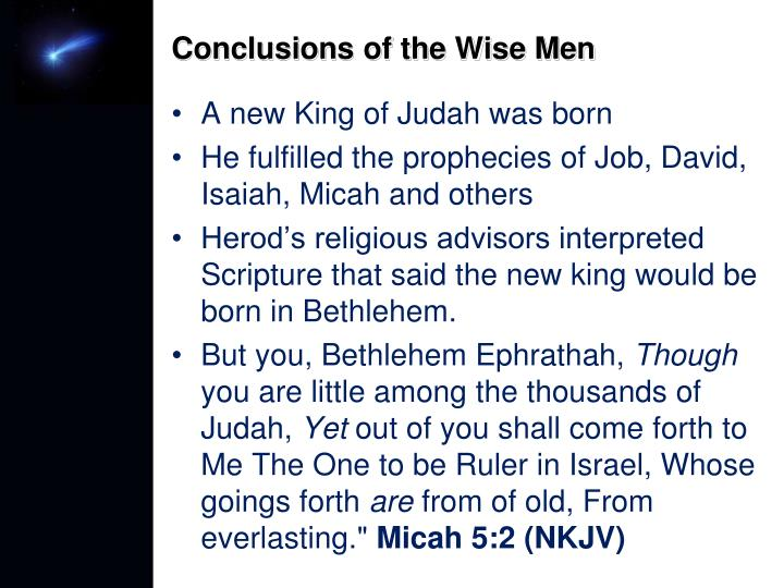 Conclusions of the Wise Men