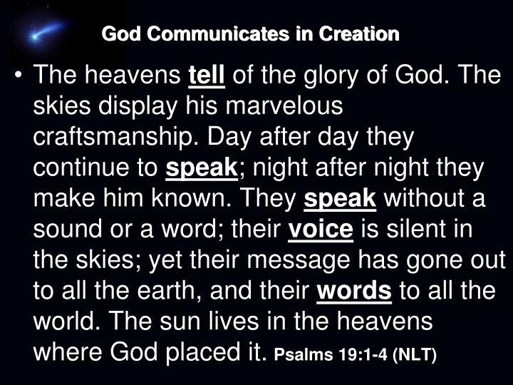 God Communicates in Creation