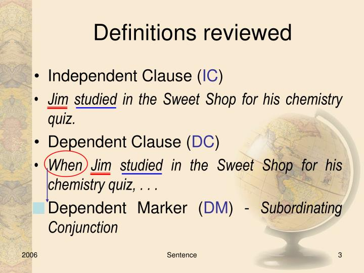Definitions reviewed