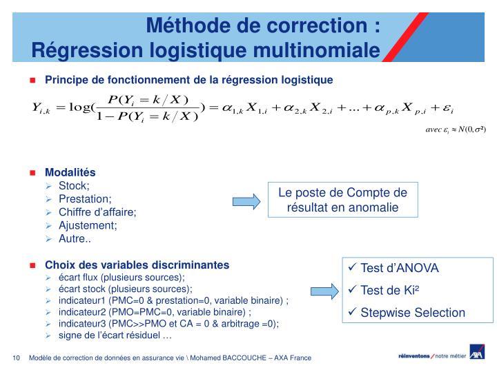 Méthode de correction : Régression logistique multinomiale