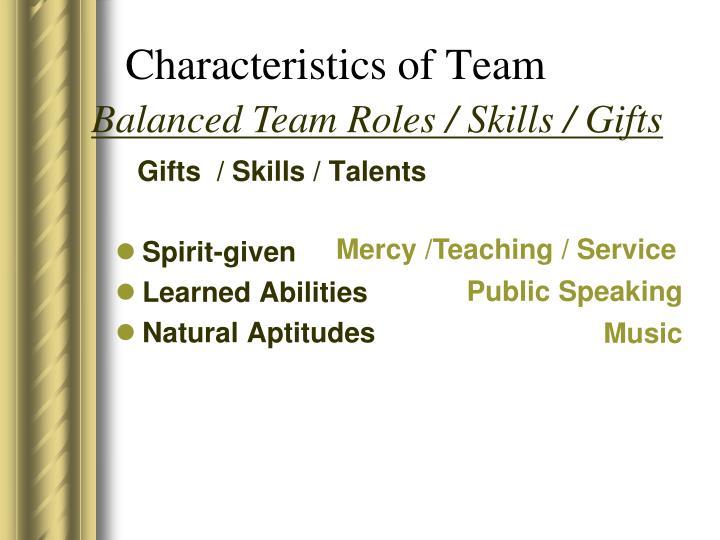 Gifts  / Skills / Talents