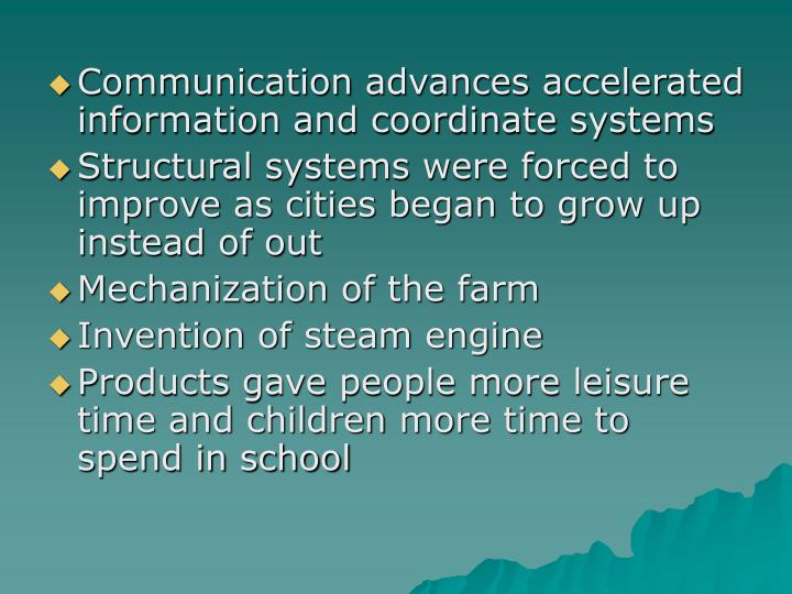 Communication advances accelerated information and coordinate systems
