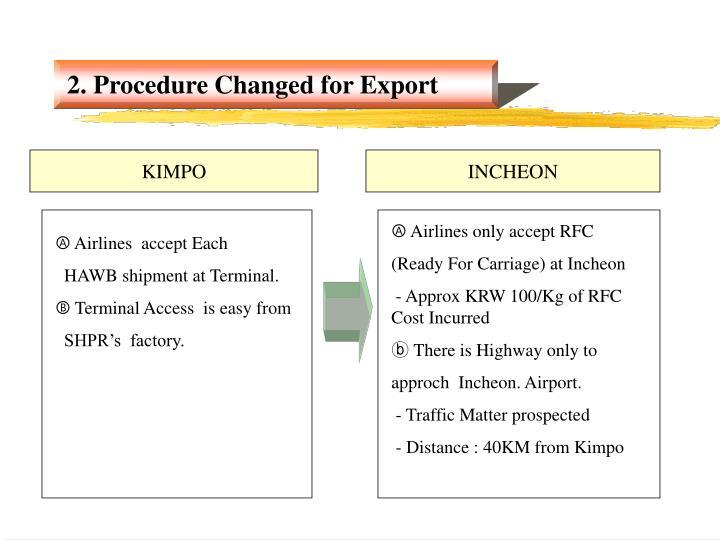 2. Procedure Changed for Export
