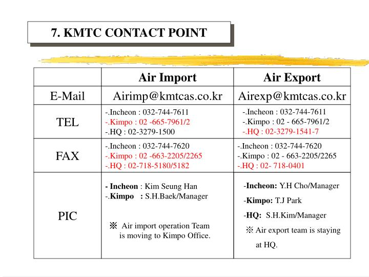7. KMTC CONTACT POINT