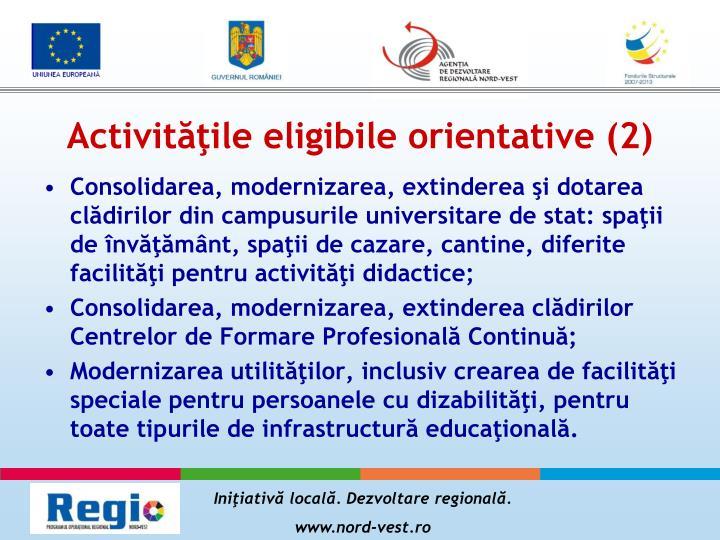 Activităţile eligibile orientative