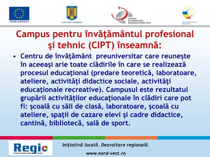 Campus pentru învăţământul profesional şi tehnic (CIPT) înseamnă:
