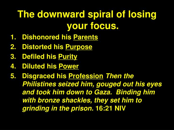 The downward spiral of losing your focus.