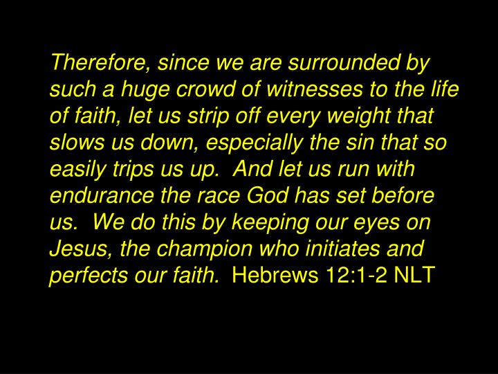 Therefore, since we are surrounded by such a huge crowd of witnesses to the life of faith, let us strip off every weight that slows us down, especially the sin that so easily trips us up.  And let us run with endurance the race God has set before us.  We do this by keeping our eyes on Jesus, the champion who initiates and perfects our faith.