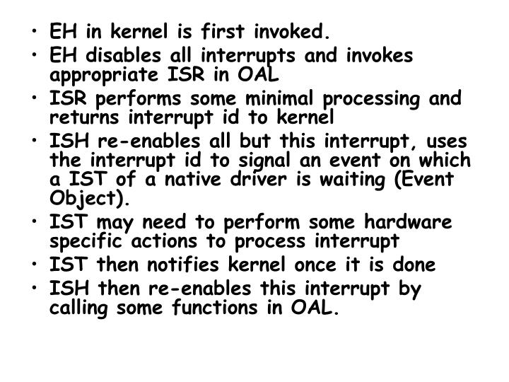 EH in kernel is first invoked.