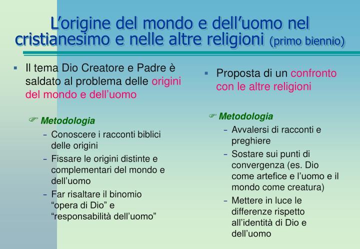 L'origine del mondo e dell'uomo nel cristianesimo e nelle altre religioni