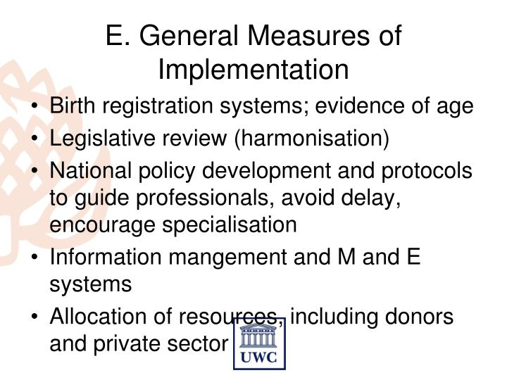 E. General Measures of Implementation