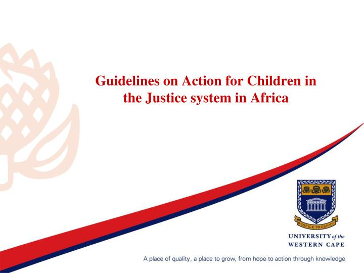 Guidelines on Action for Children in the Justice system in Africa