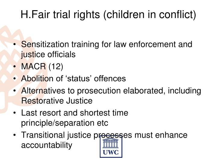 H.Fair trial rights (children in conflict)