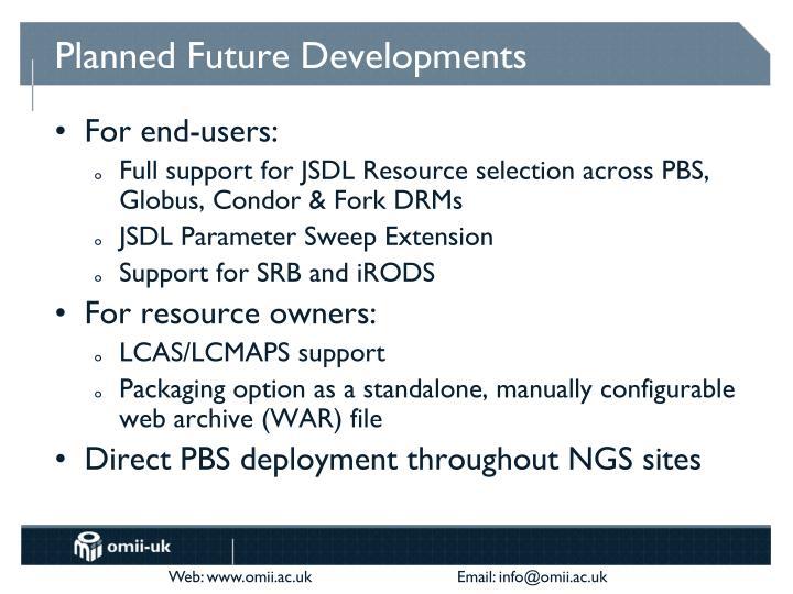 Planned Future Developments