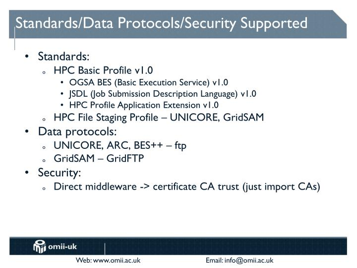 Standards/Data Protocols/Security Supported