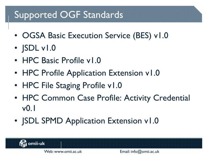 Supported OGF Standards