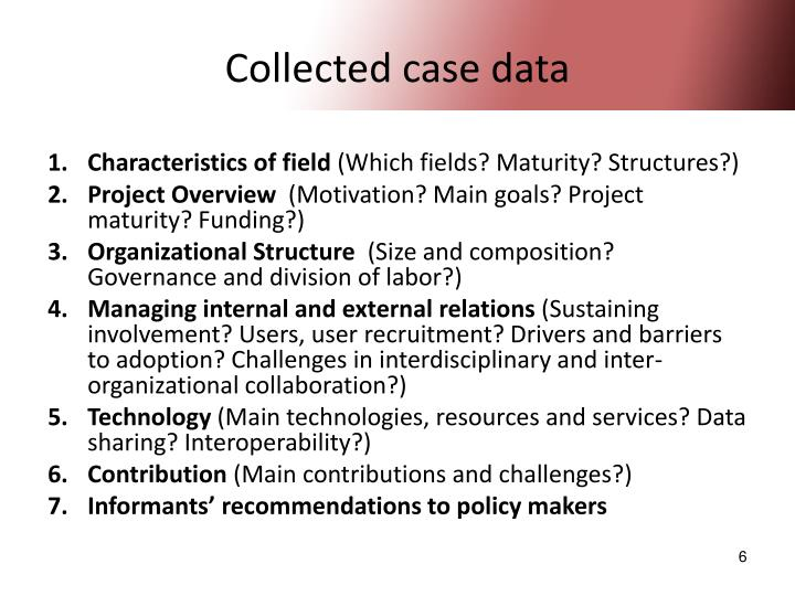 Collected case data