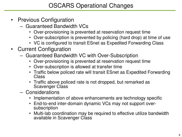 OSCARS Operational Changes