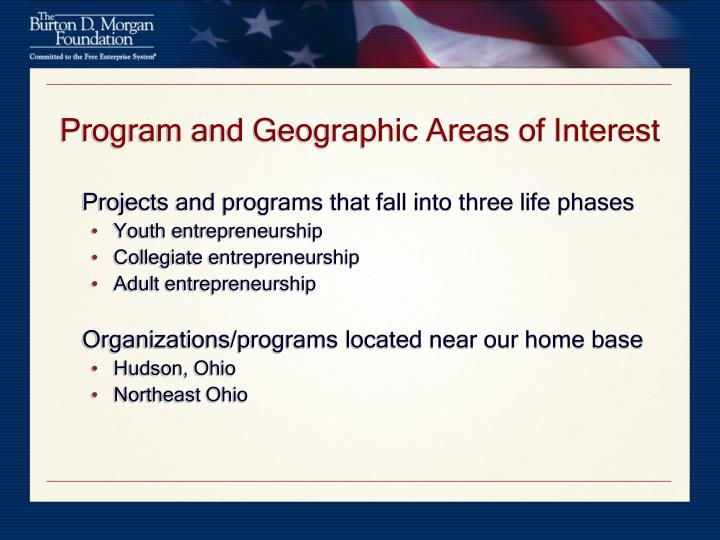 Program and geographic areas of interest