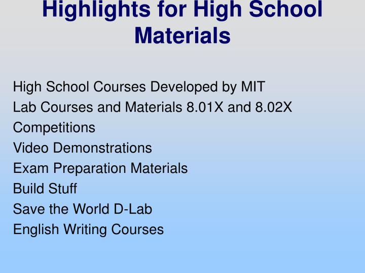 High School Courses Developed by MIT