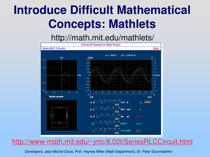 Introduce Difficult Mathematical Concepts: Mathlets