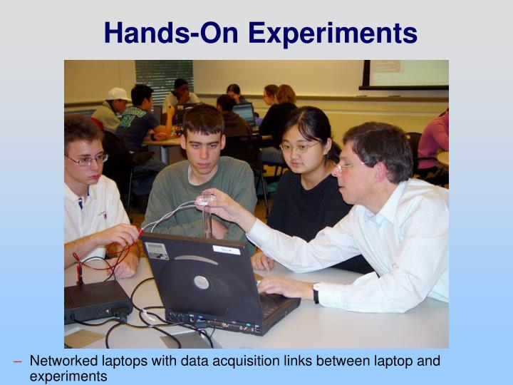 Networked laptops with data acquisition links between laptop and experiments