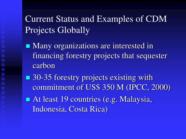 Current Status and Examples of CDM Projects Globally