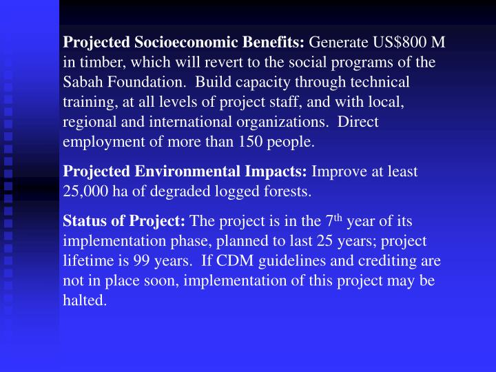 Projected Socioeconomic Benefits: