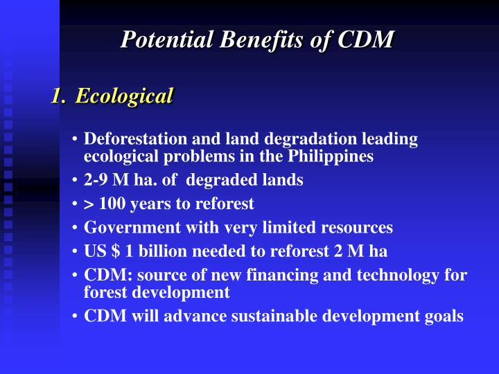 Potential Benefits of CDM