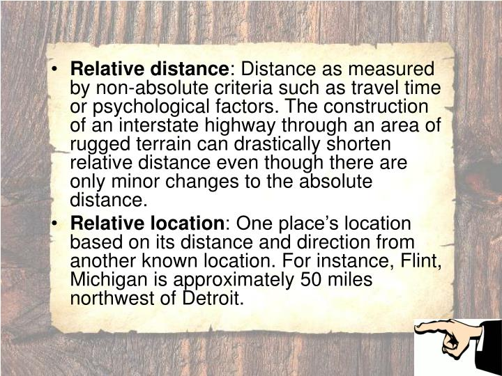 Relative distance