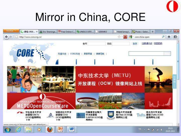 Mirror in China, CORE