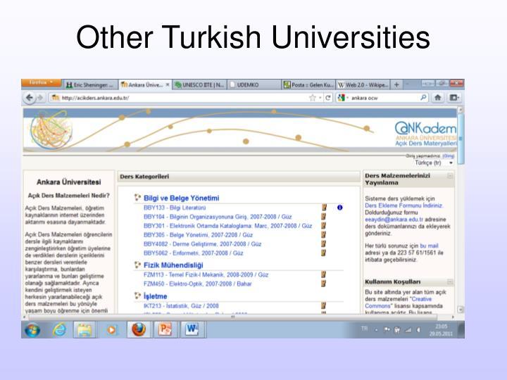 Other Turkish Universities