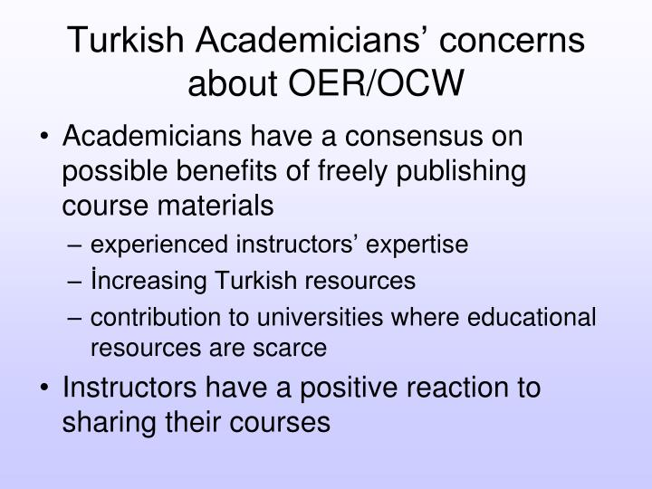 Turkish Academicians' concerns about OER/OCW