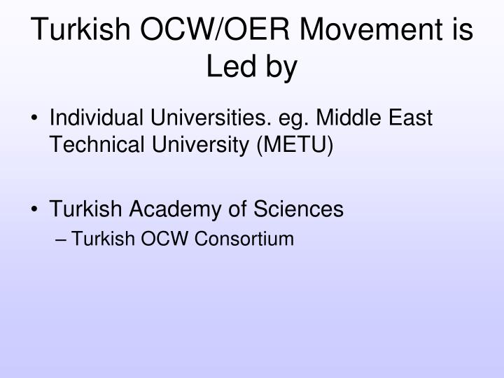 Turkish OCW/OER Movement is Led by