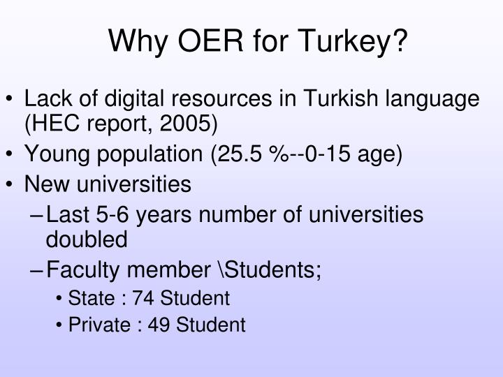 Why OER for Turkey?