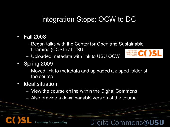 Integration Steps: OCW to DC